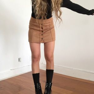 Dresses & Skirts - FAUX SUEDE COPPER BUTTON MINI SKIRT